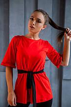 Костюм трикотажный красно-черный футболка+лосины