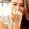 Серебряный браслет-кольцо «Ажурная бирюза»