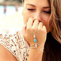 Серебряный браслет-кольцо «Ажурная бирюза», фото 1