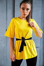 Костюм трикотажный желто-черный футболка+лосины
