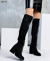 Сапоги черные женские средний каблук, спереди молния- декор, фото 3