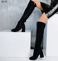 Сапоги черные женские средний каблук, спереди молния- декор, фото 2