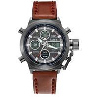 Армійські годинник амст чоловічі протиударні Оригінал AMST 3003A Black-Brown Wristband