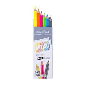 Олівці кольорові Cretacolor МЕГА Artist Studio Line набір 6шт (5 неонових+ 1 графітовий МЕГА НВ)