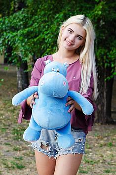 Плюшевый Бегемот Голубой с Розовым