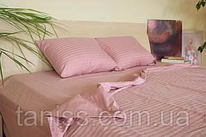 Семейный набор постельного белья из страйп-сатина, 100% хлопок, цвет розовый