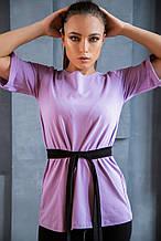 Костюм трикотажный фиолетово-черный футболка+лосины