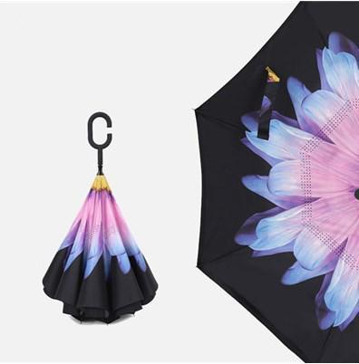 Зонт обратного сложения Up Brella  сиренево голубая хризантема