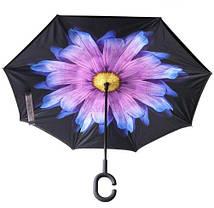 Зонт обратного сложения Up Brella  сиренево голубая хризантема, фото 2