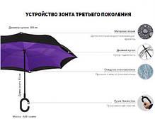 Зонт обратного сложения Up Brella  сиренево голубая хризантема, фото 3