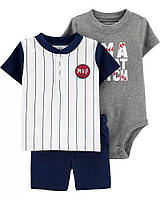 Хлопковый комплект из трех вещей на бейсбольную тематику Картерс для мальчика