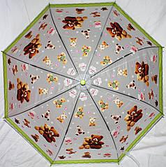 Зонт-трость детский SR K034 1953 полупрозрачный клеенка медвежата