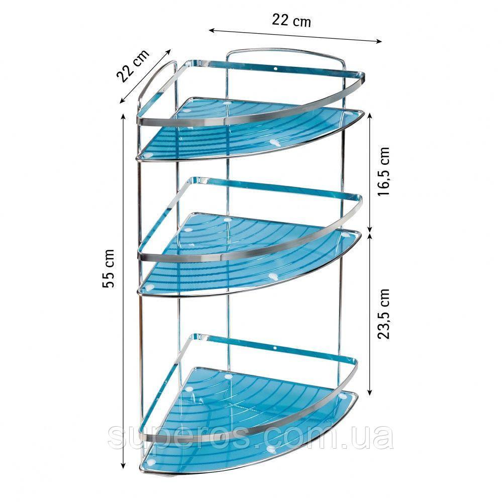 Полка в ванную Tatkraft MERLIN угловая 3х ярусная хромированная сталь 30.5х22х55H см (16033)