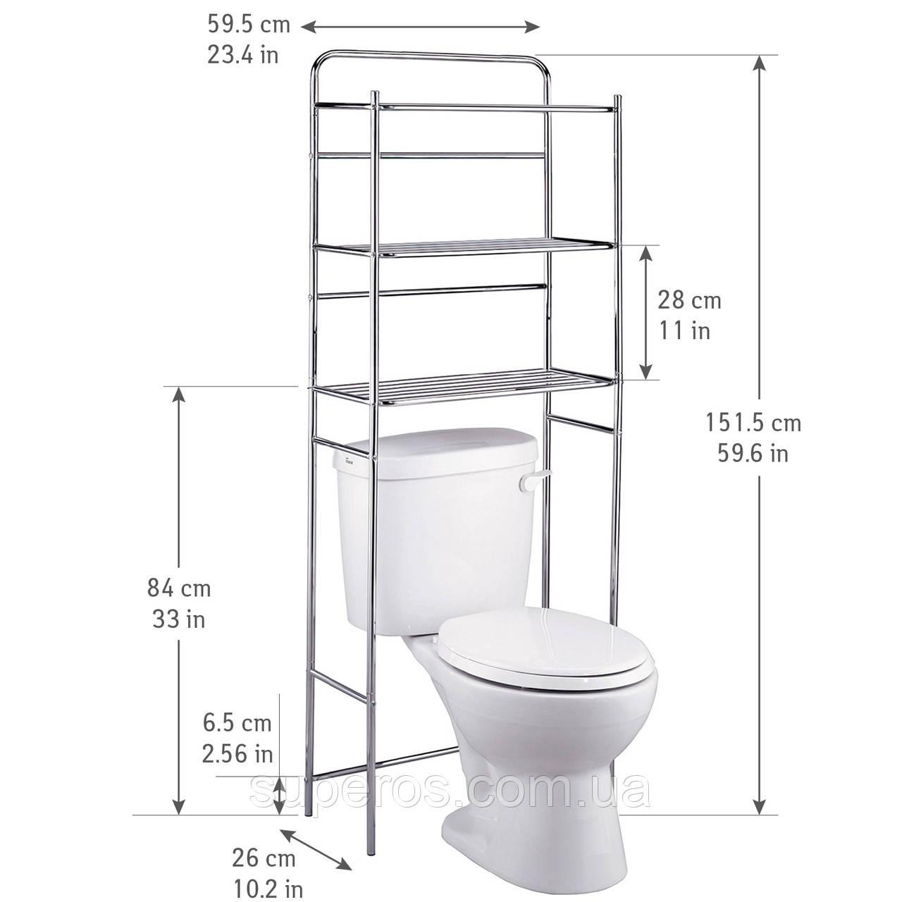 Полиця для туалету Tatkraft 3х ярусна підлогова з хромованої сталі 59.5х151.5х26 см (13292)