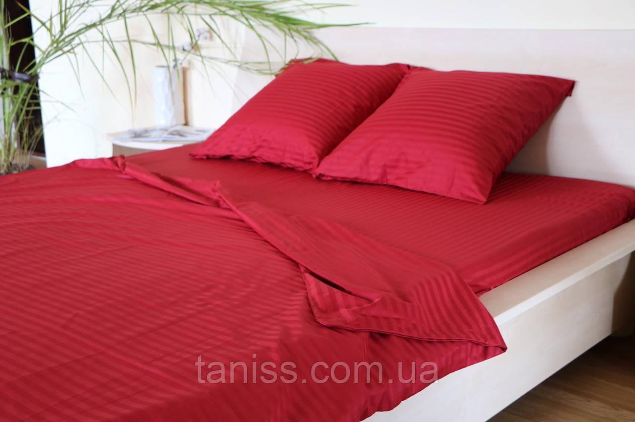 Двухспальный набор постельного белья из страйп-сатина, 100% хлопок, цвет красный