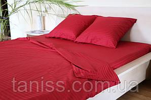 Двухспальный набор постельного белья из страйп-сатина, 100% хлопок, цвет красный алый