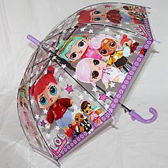 Зонт-трость детский SR K269-2 девочки  прозрачный клеенка
