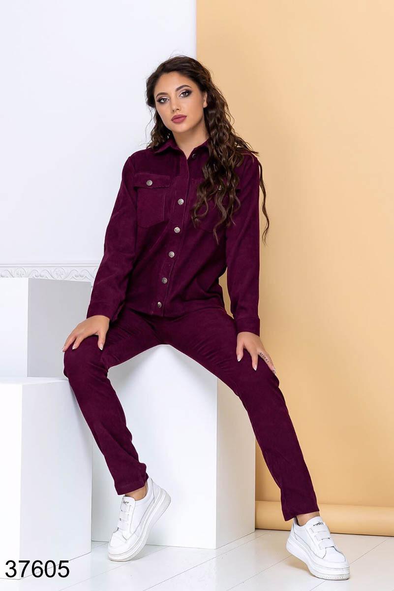 Стильный вельветовый костюм брюки + рубашка на пуговицах р. 44, 46, 48, 50