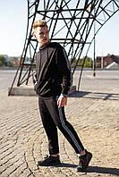 Мужской спортивный костюм Kappa (реплика) трикотажный черного цвета