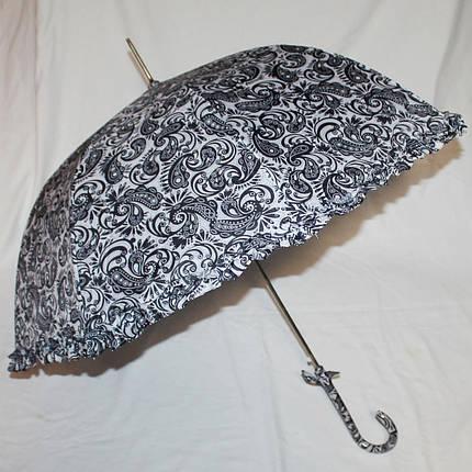 Зонт-трость женский купол гриб черно-белый, фото 2