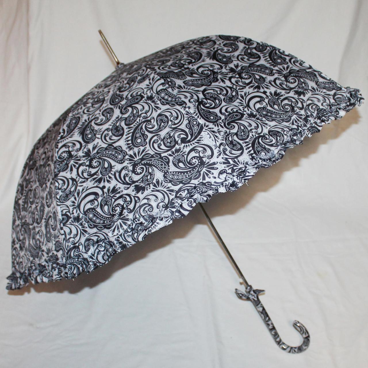 Зонт-трость женский купол гриб черно-белый