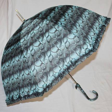 Зонт-трость женский купол гриб черно-бирюзовый, фото 2
