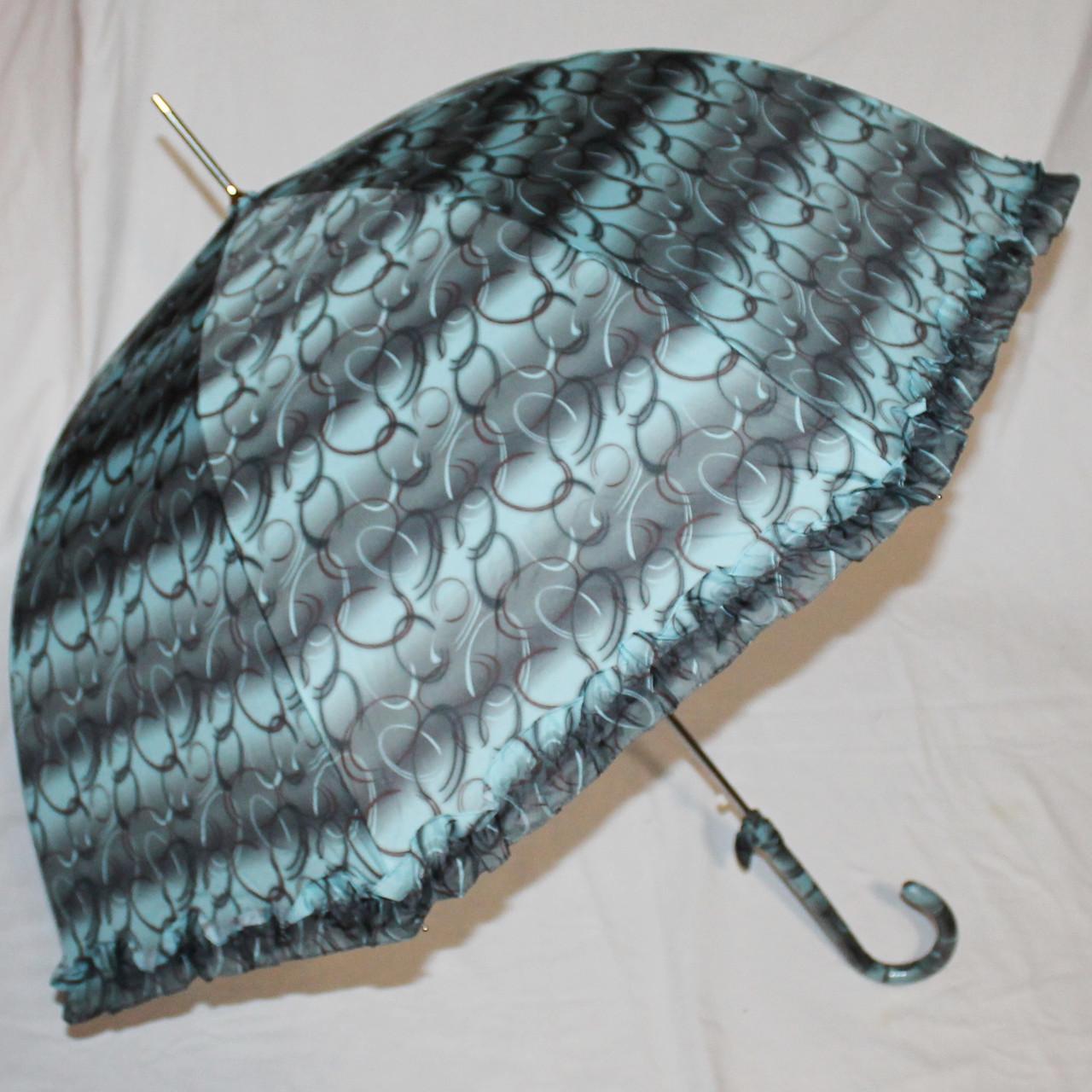 Зонт-трость женский купол гриб черно-бирюзовый