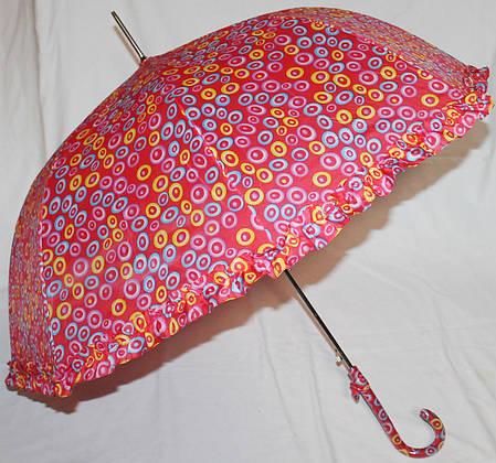 Зонт-трость женский купол гриб красный, фото 2
