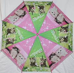Зонт-трость детский SR К020 розово-зеленый котята клеенка