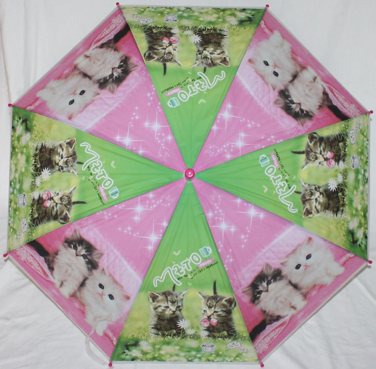 Зонт-трость дитячий SR К020 рожево-зелений кошенята