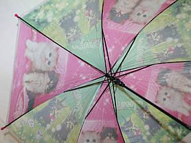 Зонт-трость дитячий SR К020 рожево-зелений кошенята, фото 2