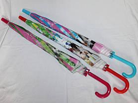 Зонт-трость дитячий SR К020 рожево-зелений кошенята, фото 3