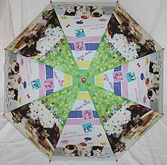Зонт-трость детский SR К020 зелено-белый котята и цветы клеенка