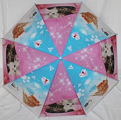 Зонт-трость детский SR К020 розово-синий котята клеенка