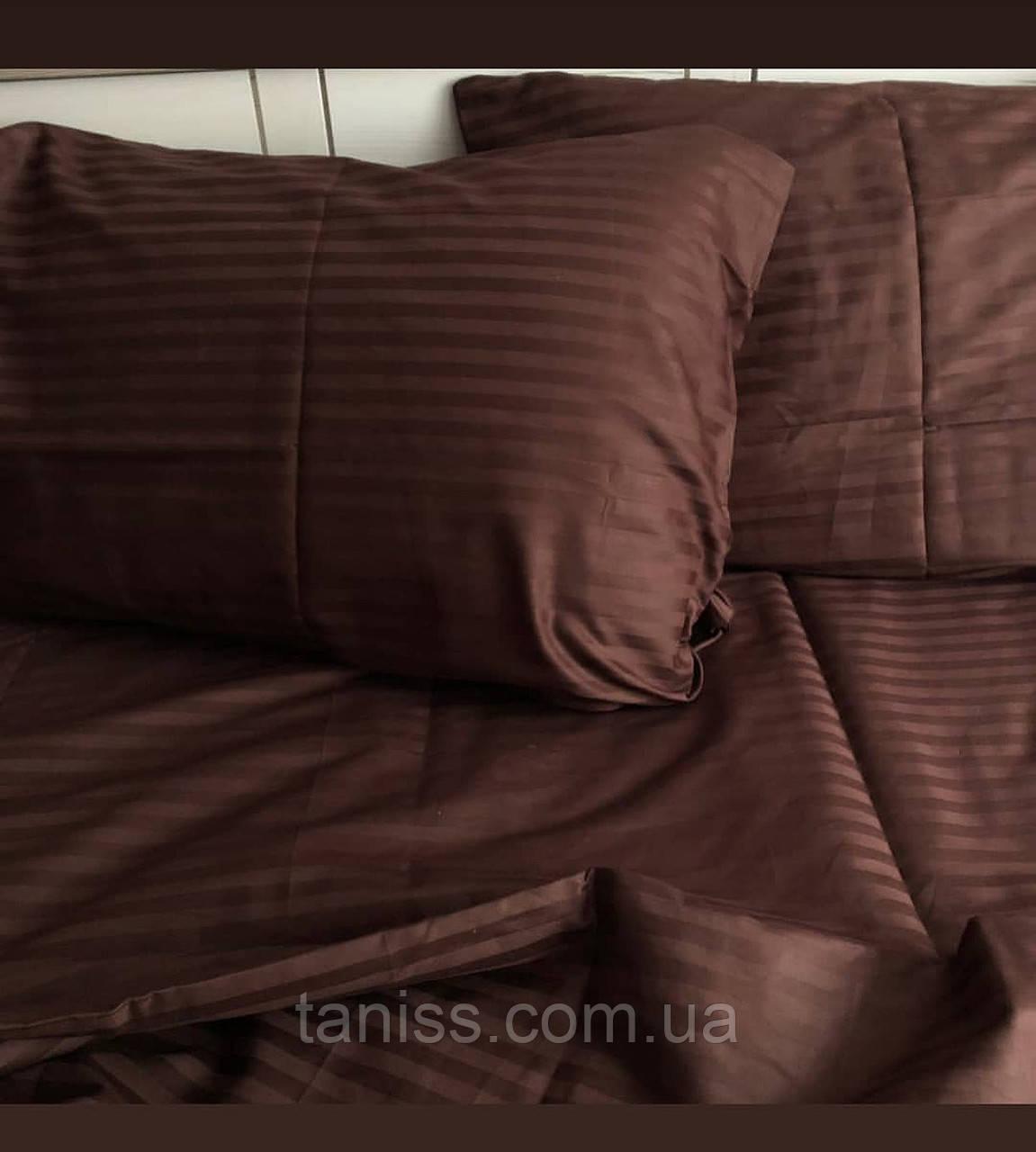Двухспальный набор постельного белья из страйп-сатина, 100% хлопок, цвет коричневый