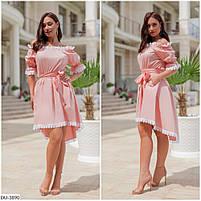 Нарядное асимметрическое платье со вставками кружева Размер: 48-50, 52-54 Арт: 296, фото 3