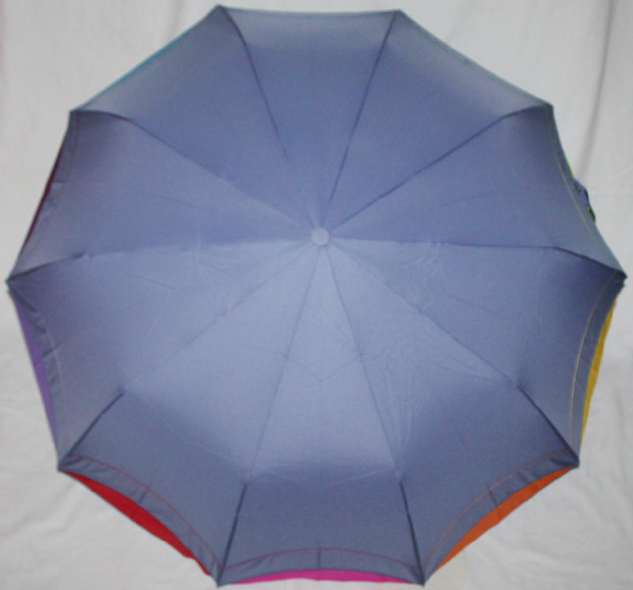 Зонт женский Remit 902 полуавтомат антиураган, 10 спиц, голубой с разноцветным кантом