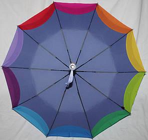 Зонт женский Remit 902 полуавтомат антиураган, 10 спиц, голубой с разноцветным кантом, фото 2