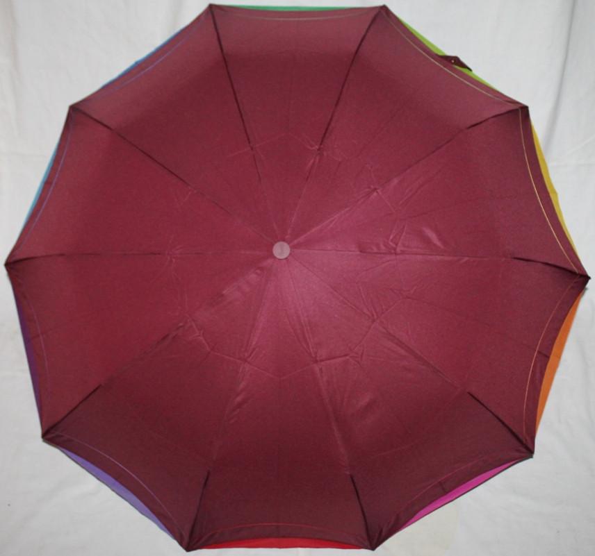 Зонт жіночий Remit 902 напівавтомат антиураган, 10 спиць, темно-червоний з різнобарвним кантом