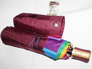 Зонт жіночий Remit 902 напівавтомат антиураган, 10 спиць, темно-червоний з різнобарвним кантом, фото 2