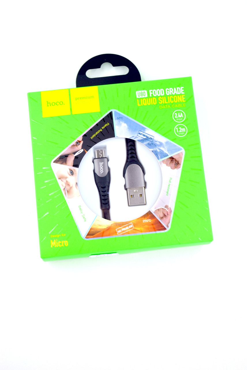 Кабель Usb-cable Micro USB HOCO U80 Cool silicone 2.4A 1.2m (круглый) Black