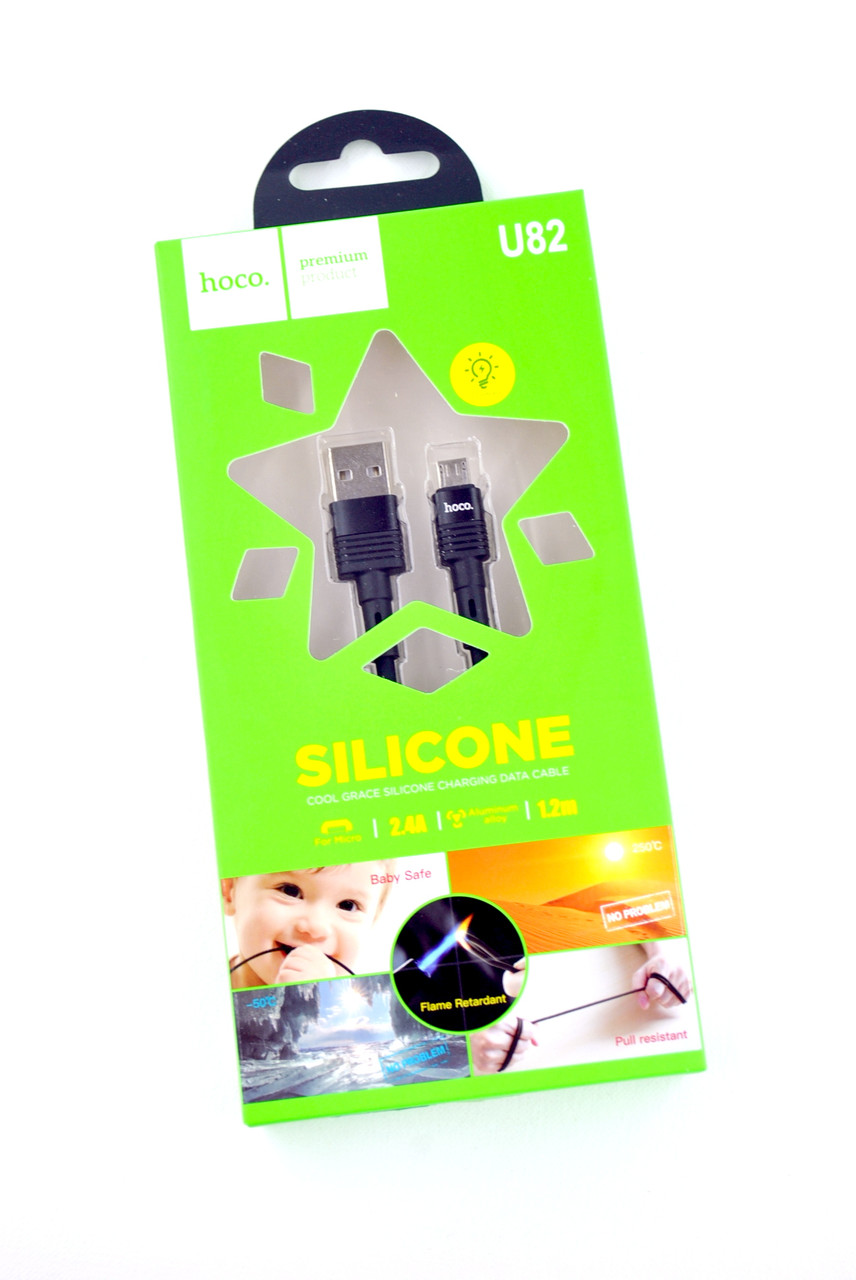 Кабель Usb-cable Micro Usb HOCO U82 Cool grace 2.4A 1.2m (круглый, LED) Black