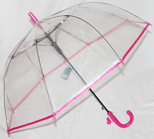 Зонт-трость детский Fiaba K312 прозрачный красный, фото 2