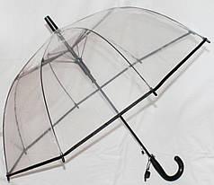 Зонт-трость детский Fiaba K312 прозрачный клеенка черный