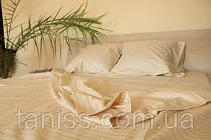 Двухспальный набор постельного белья из страйп-сатина, 100% хлопок, цвет топленое молоко