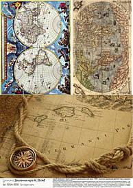 Декупажная карта Geronimo ''Три старые карты'', А4, 25г/м2, ТАИР
