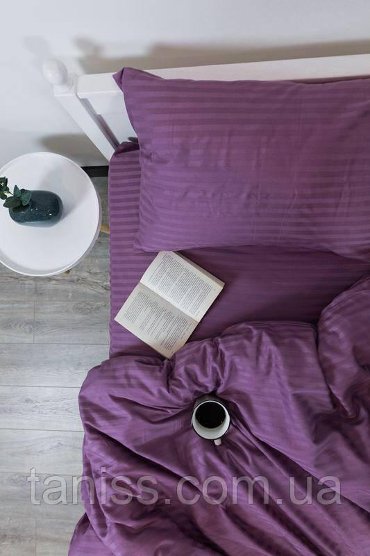 Двухспальный набор постельного белья из страйп-сатина, 100% хлопок, цвет фиолетовый