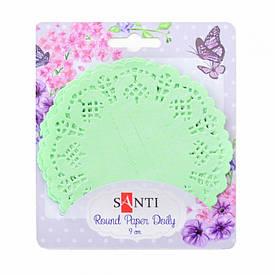Набір серветок ажурних круглих, колір світло-зелений, діаметр 9 см, 12 шт.