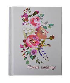 Записна книга блокнот А6 Buromax FLOWERS LANGUAGE 64л. клітка білий перламутр тверда обл. (BM.2467