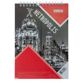 Записна книга блокнот на пружині зверху А4 Buromax METROPOLIS 48арк. клітка червоний картонна обкладинка